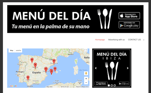 Menu del Dia App covering multiple areas of Spain