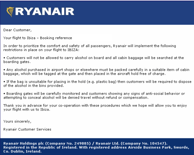 Ryanair are taking steps to reduce duty free alcohol consumed onboard