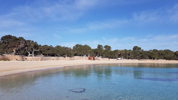 Cala Bassa at Easter crystal clear waters and deserted