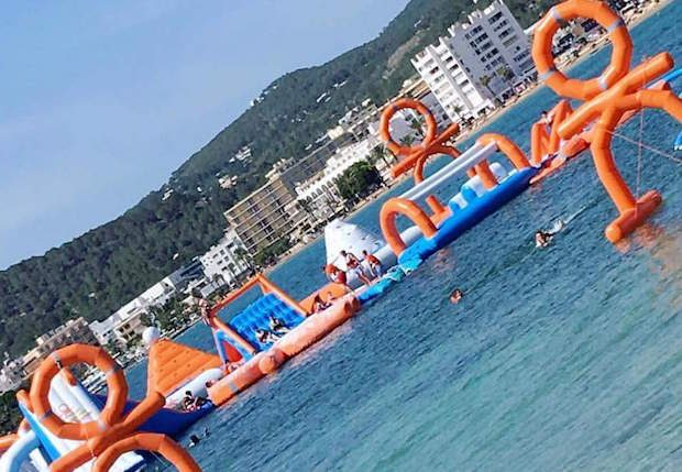 Fun for all at the Ocean Mania water wipeout course San Antonio Ibiza