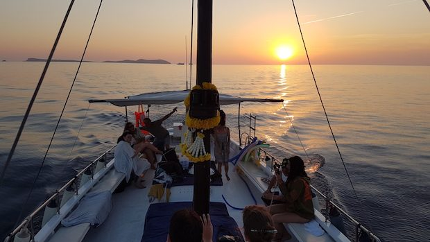 Sunset from the sea with Chilli Pepper Charters
