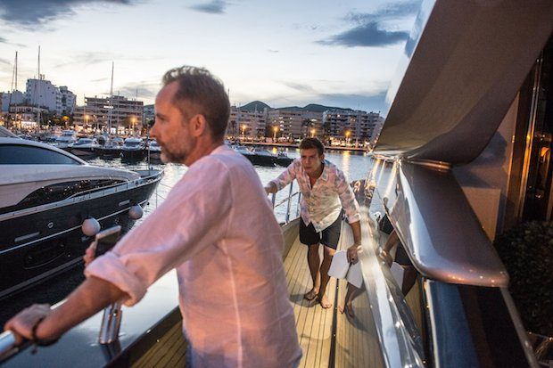 Kyle (Billy Boyd) and Connor (Lyndon Ogbourne) on a superyacht in White Island