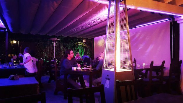 On the Tapas Ibiza sun terrace with heaters and covered roof perfect on a winters evening