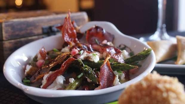 Tapas Ibiza new winter dish Asparagus, Serano, Goatscheese & Pomegranate