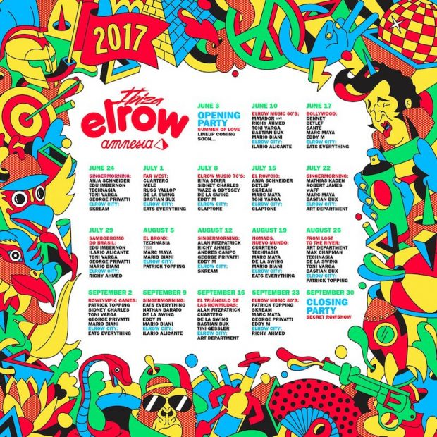 Elrow theme and line ups each Saturday at Amnesia Ibiza