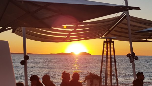 The sunset in April from Mint Lounge San Antonio Ibiza