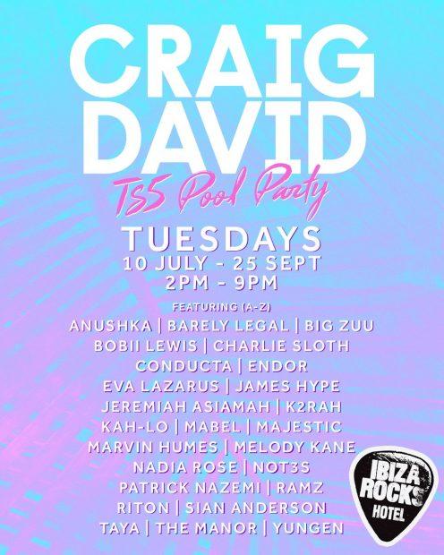 Craig David TS5 Pool Party Line Ups 2018