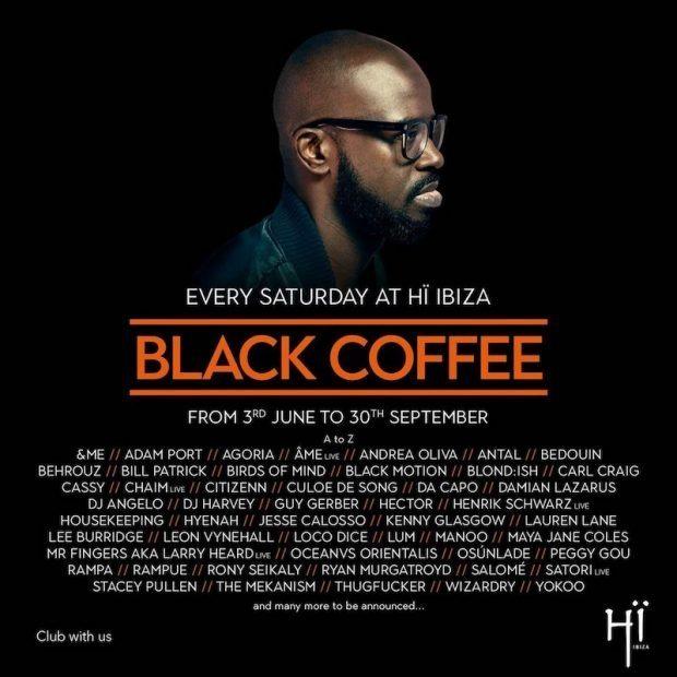 Black Coffee line ups at HÏ Ibiza Saturdays Playa d'en Bossa