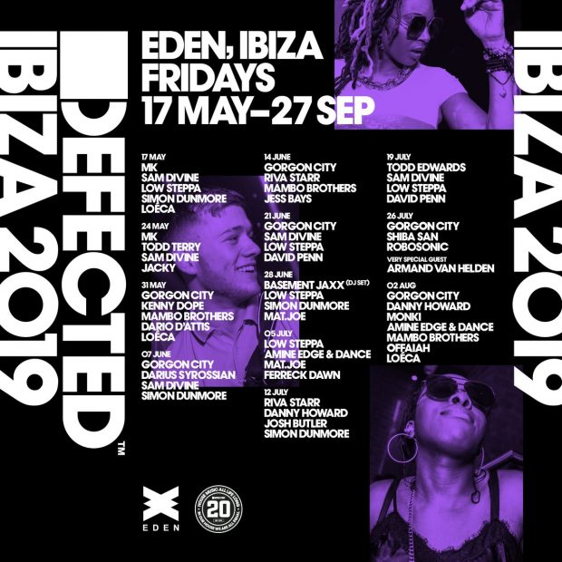 Defected in the House Eden 2019 Line Ups