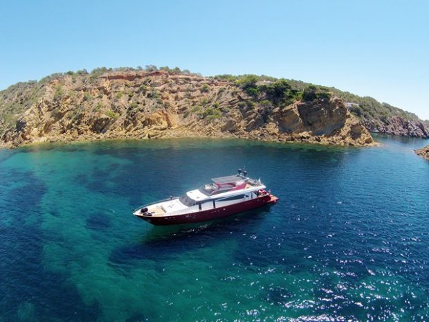 Charting a boat around Ibiza the perfect way to enjoy the beauty of the island.