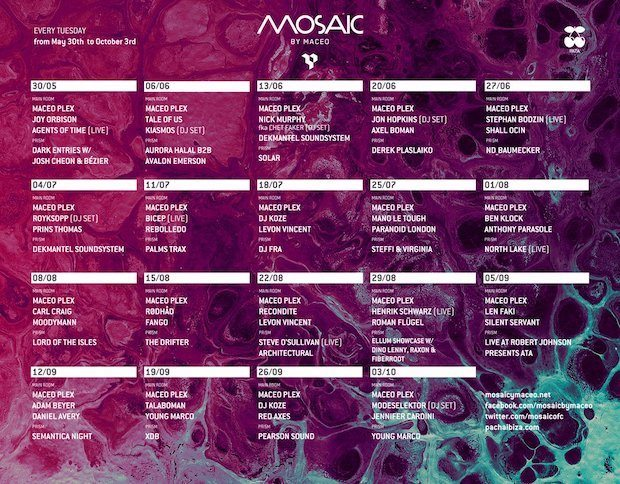 Mosaic by Maceo lineups for Pacha on Tuesdays Ibiza 2017