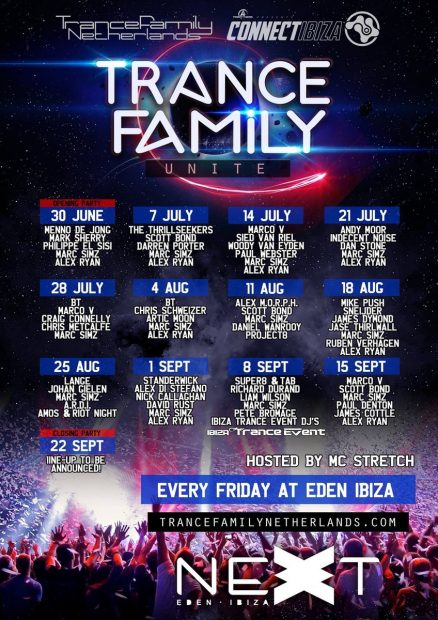 Trance Family Eden Ibiza each Friday in their second room Next this summer