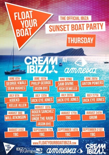 Float Your Boat Cream Boat Party Line ups 2017