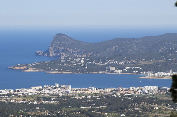 The view from Ibiza highest point Sa Talaia looking towards San Antonio