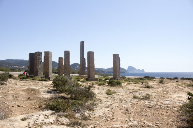 Time and Space sculpture with es Vedra in the back ground