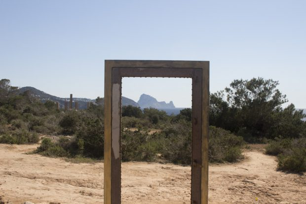The door to Es Vedra located beside the Time and Space sculpture