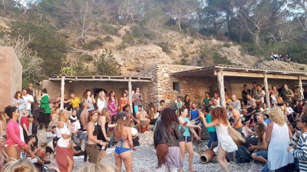 The drums at sunset on Benirras Beach Ibiza