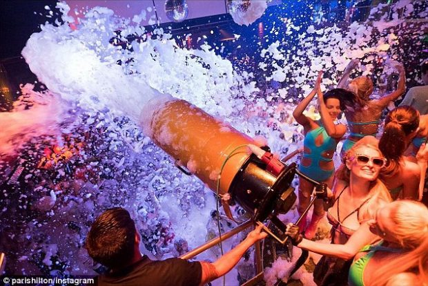 Foam and Diamonds Amnesia with Paris Hilton and more foam than you know what to do with