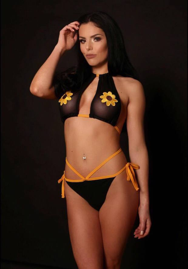 Naughty & Nice a stunning black panel and orange tied bikini from Forbidden Fruits