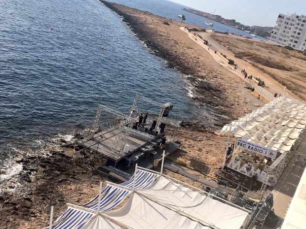 Radio 1 Stage Ibiza being built at Cafe Mambo 2017 Pic courtesy of Martin Makepeace