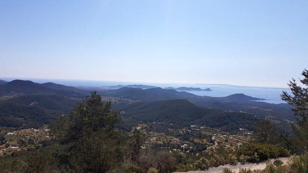 Looking towards the salts flats and the coast of Formentera from Sa Talaia, Ibiza