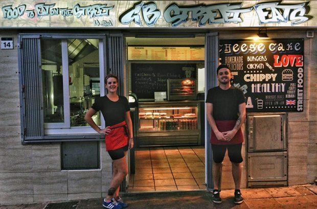 Emma and John always on hand to feed the weary at GB Street Eats San Antonio Ibiza