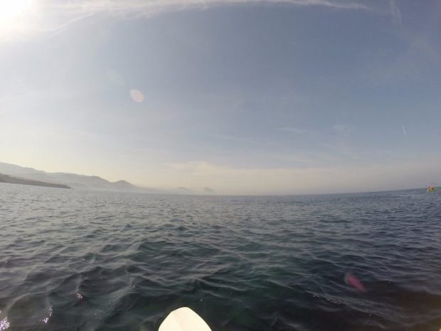 Paddling back to the start with Es Vedra in the distance