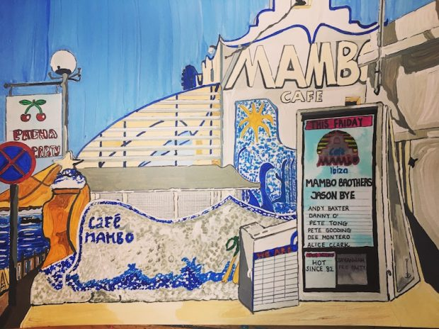 The iconic Cafe Mambo, Ibiza as painted by Sarah Milburn
