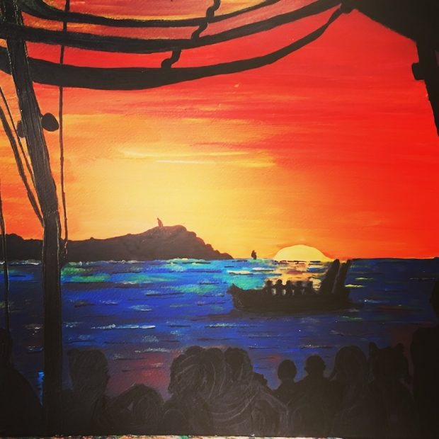 Sunset from Cafe Mambo which has pride of place in the bosses office