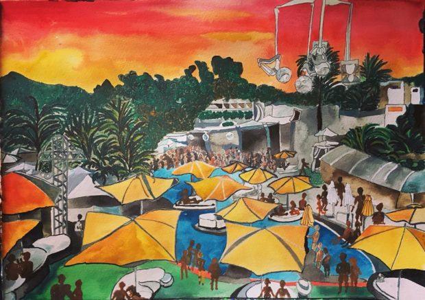 Ocean Beach San Antonio Ibiza painting by Sarah Milburn
