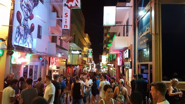 The West End San Antonio Ibiza after Midnight still filled with people