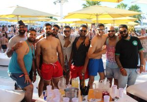 A group of lads at Ocean Beach on a stag do