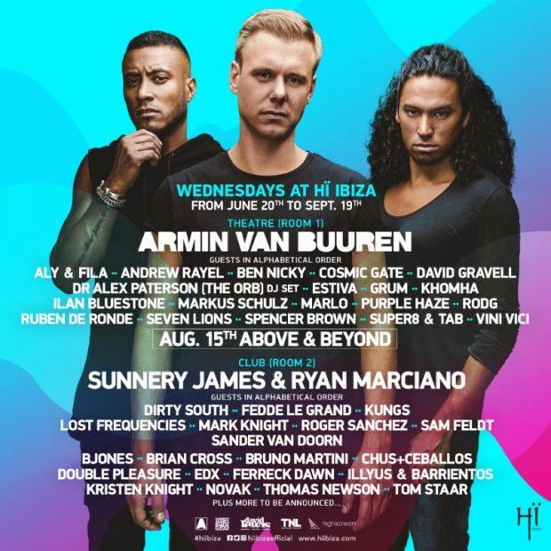 Armin van Buuren weekly line ups Hï Ibiza 2018