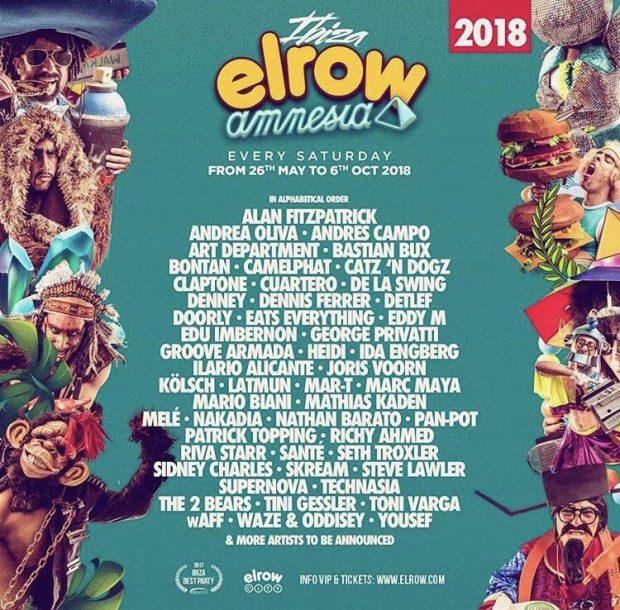 Elrow Amnesia Ibiza 2018 Line ups