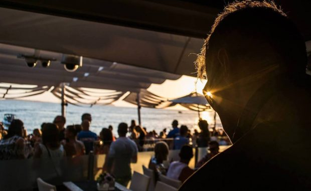 Cafe Mambo DJ booth looking out to the Ibiza sunset
