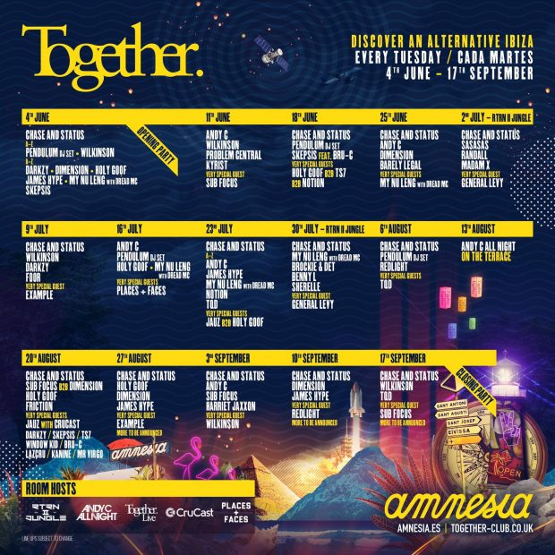 Together Amnesia Ibiza 2019 weekly line ups