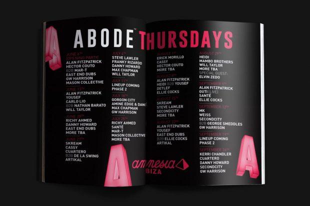 Abode Amnesia Ibiza 2019 Weekly line ups