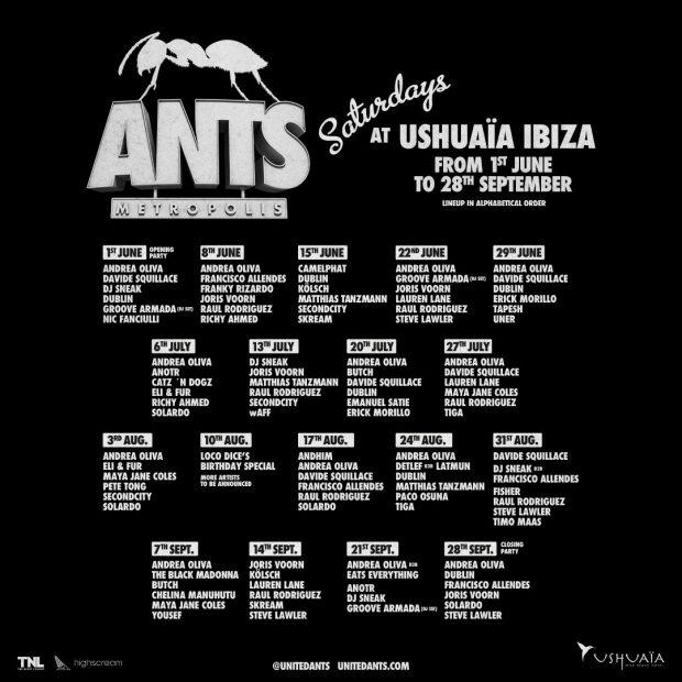 ANTS Ushuaia Ibiza 2019 Weekly Line Ups