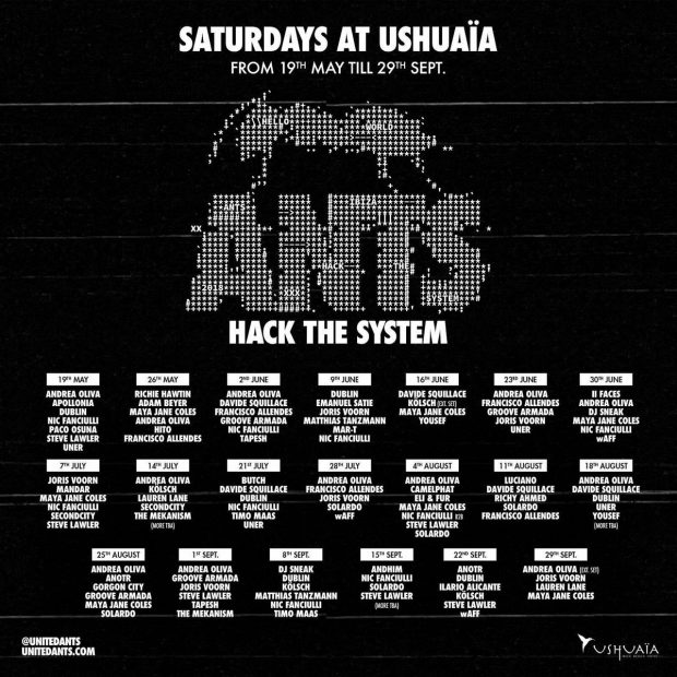 ANTS Line ups Ushuaia Ibiza 2018