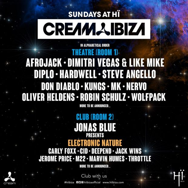 Cream HÏ Ibiza 2018 on Sundays this summer