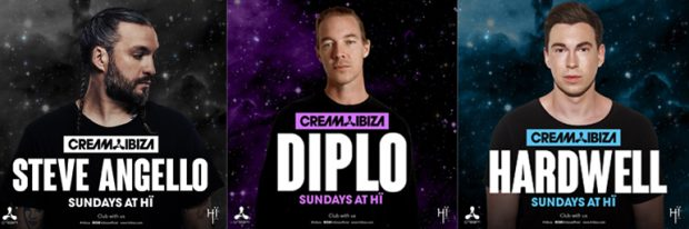 Steve Angello, Diplo and Hardwell area all confirmed fro Cream Ibiza this summer at HÏ IBIZA on Sundays