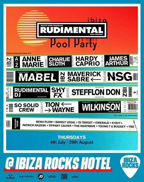 Rudimental Ibiza Rocks 2019 Line ups