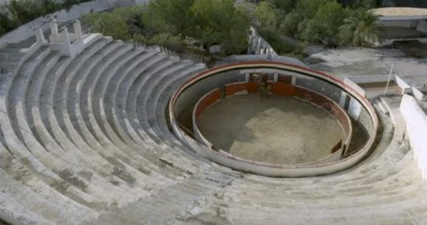The amphitheatre and mock bull ring at the Festival Club