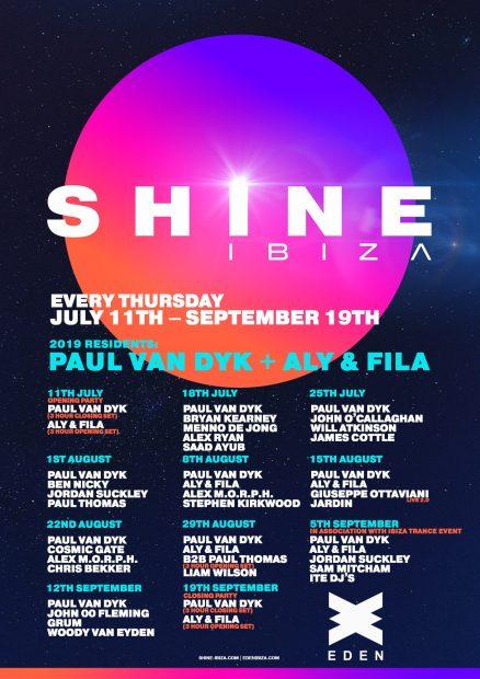 SHINE Ibiza Eden 2019 Line ups