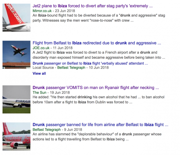 Recent headlines about disruptive flights to Ibiza due to alcohol