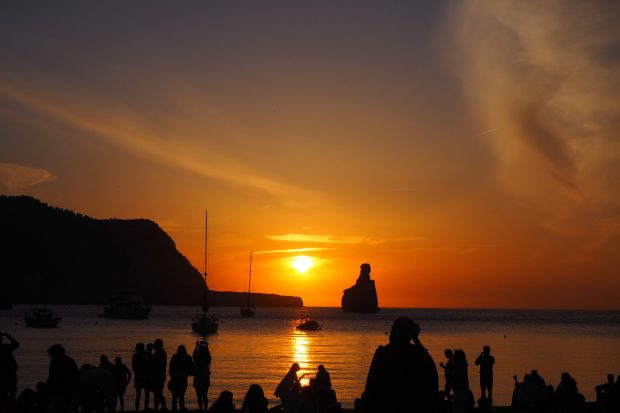 Benirras Beach at Sunset with Gods Finger