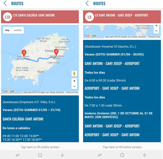 With maps route detail times and prices the official Ibiza bus app is a must have