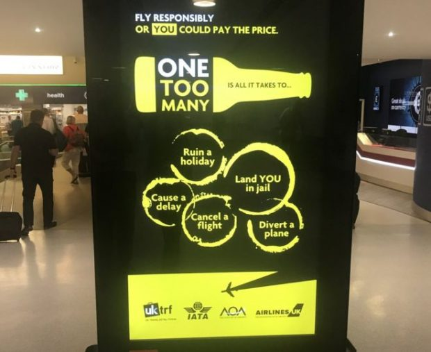 The One Too Many media boards in UK Airports