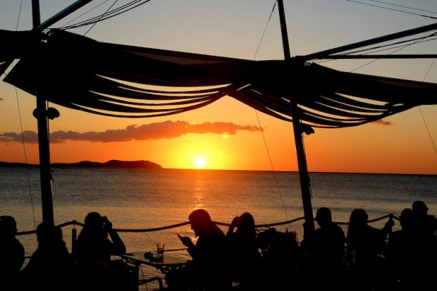 Our first sunset on the Sunset strip San Antonio, Ibiza