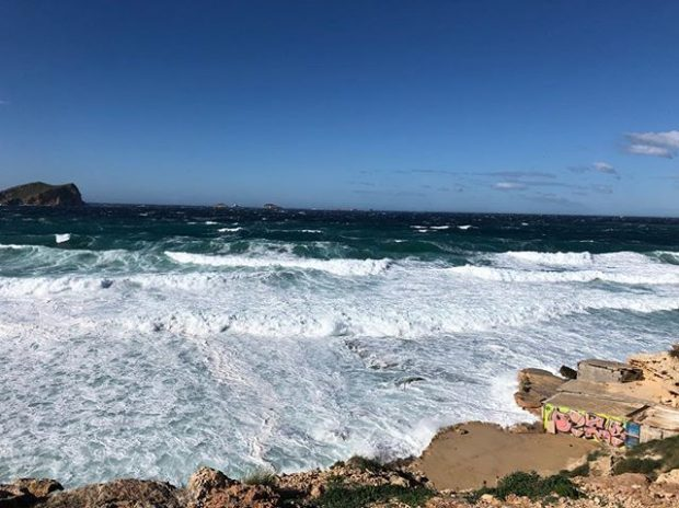 The rolling waves in Ibiza during the winter